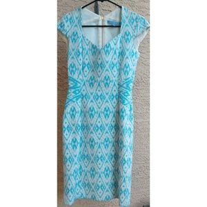 Antonio Milani Lined Zip Dress Turquoise Sz 0